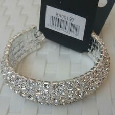 UK Ladies Elegant Silver pltd crystal Rhinestone Bracelet Bangle Jewellery