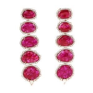 18K Solid Yellow Gold Pave Diamond Genuine Ruby Gemstone Dangle Earrings Jewelry