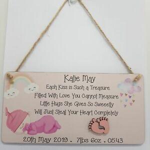Personalised Baby Plaque, New Baby Girl Gift, Christening, Nursery Newborn Gift