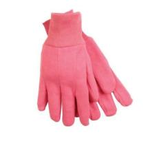 Biers Pink Gardening Gloves (Size M) Jersey Mini Grip Fluffy Inside Comfort Grip