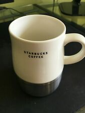 2004 Starbucks White & Silver Coffee Mug Cup 14 Ounce