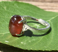 3.5g  NATURAL ALMANDINE RED GARNET CRYSTAL HEALING RING  Reiki Charged  INDIA