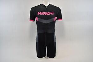 Verge Elite Women's Medium Euro Short Sleeve Cycling Skinsuit Black/Grey/Pink