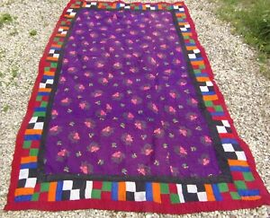 Sindhi single Ralli Quilt hand stitched Patchwork Bed Cover Throw Purple