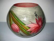 """Vintage Hedi Schoop Round Bowl Vase Pink Flowers 6 3/4"""" x 8"""" Wide California"""