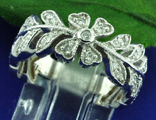 14k Solid White Gold Flower 0.50 ct Eternity Natural Diamond Ring Ladies