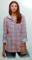 Boston Traders Womens Lightweight Hooded Flannel Shirt Double Face, Peach, NWT