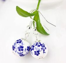 Blue and White Flower Earrings Porcelain Bead Drop Dainty Dangly   UK SELLER