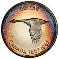 1967 CANADA GOOSE SILVER DOLLAR PCGS PL66 CHOICE COLOR RAINBOW TONED UNC (DR)