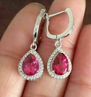 4Ct Pear Cut Red Ruby Diamond Drop & Dangle Hook Earrings 14K White Gold Finish