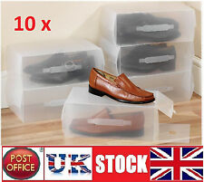 10x  Clear see through shoe trainers Boxes Storage Box Organizer stackable