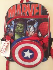 """Marvel Avengers 16"""" Full Size Backpack W/Detachable Insulated Lunch Box"""