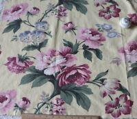 "Pale Yellow & Pink Roses Vintage Kellwood Fabrics Barkcloth Era Fabric~33"" X 48"""