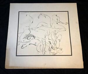 Vintage Original Nude Figures Ink Drawing Gestural Black & White Female & Male