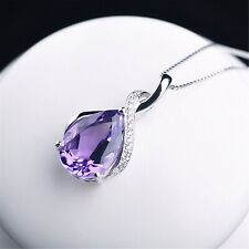 """Sterling Silver Purple Crystal Pendant Necklace 18"""" Chain Womens Jewelry Gift"""