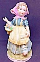 "VTG! Lefton China KW 4243 Hand Painted Girl with Flower Basket Figurine~5.5""tall"
