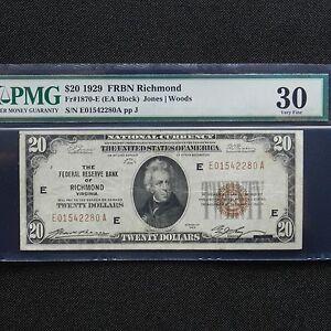 $20 1929 FRBN Richmond, Fr #1870-E, (EA Block), Jones/Woods, PMG 30 Very Fine