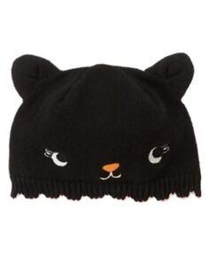 GYMBOREE HALLOWEEN SHOP BLACK KITTY CAT SWEATER HAT 0 3 6 12 NWT
