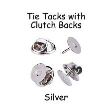 100 Silver Tie Tacks Blank Pins with Clutch Back - Lapel / Scatter Pin