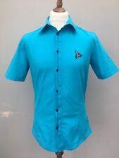 Henleys Shirt Short Sleeve Aqua Blue Size 3 Button Down Silver Lion Fitted