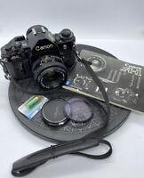 Canon A-1 35mm SLR Film Camera + FD 50mm F1.8 Lens + Strap +Instruction[+GREAT+]