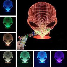 3D Holograma ilusión pop-Eyed ALIEN Forma Lámpara Acrílico 7 Colores Cambiantes