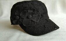 Nine West women's black crochet newsboy baseball cap