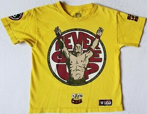 WWE Wrestling JOHN CENA Never Give Up Youth Size Medium Yellow T-Shirt