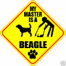 """MY MASTER IS A BEAGLE 4"""" DOG POOP STICKER"""