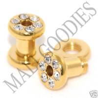0388 Screw-on / fit Gold Clear CZ Flesh Tunnels 6 Gauge 6G Ear Plugs 4mm Steel