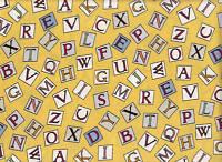 Michael Miller  FLOWER FAIRY FABRIC - Alphabet Fairies Letters Sunny 100% Cotton