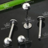10P Lip Chin Labret Ring Bar Stud Tragus Ball Stainless Steel Body Piercing 1mm