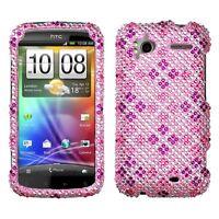 Pink Purple Plaid Crystal Diamond BLING Hard Case Phone Cover HTC Sensation 4G