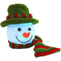 13cm Light Up Battery Hanging EVA Snowman Head W/ Green Hat Christmas Decoration