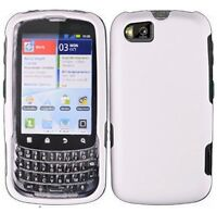 Rubberized White HARD Case Snap on Phone Cover for Sprint Motorola ADMIRAL