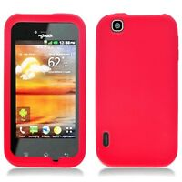 Red Rubber SILICONE Skin Soft Gel Case Phone Cover for T-Mobile LG myTouch