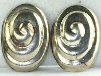 VINTAGE 1980'S LARGE SWIRLED MEXICAN STERLING SILVER CLIP EARRINGS