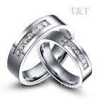 BRILLANT T&T Stainless Steel Wedding Band Ring With Multi CZ For Couple