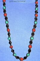RED/GREEN MULTI BEADED NECKLACE, FULL BLING MACRAME CHAIN, ICED OUT DISCO BALLS