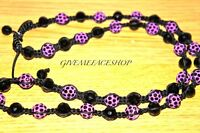 BEADED PURPLE DISCO BALLS NECKLACE, FULL BLING MACRAME CHAIN, ICED CRYSTAL BALLS