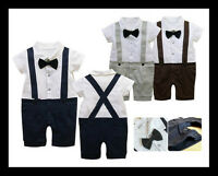 Baby Boy Wedding Christening Formal Party Bow Tie Smart Suit Outfit Tuxedo