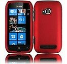 For Nokia Lumia 710 Rubberized HARD Protector Case Snap on Phone Cover Red
