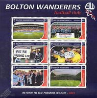 BOLTON WANDERERS Football Club Stamps (2001 Grenada Sheet) SG4567-72 (Soccer)