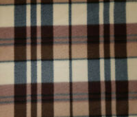 60 Inch Width Cream &Brown Check Polar Fleece, Material,Fabric,Soft And Washable