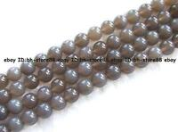 natural 4,6,8,10,12,14,16,18,20mm grey Agate Round Gemstone Beads 15""
