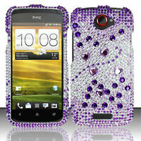 For T-Mobile HTC ONE S Crystal Diamond BLING Hard Case Phone Cover Purple Silver