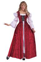 MEDIEVAL LACE UP GOWN RED VELVET RENAISSANCE FANCY DRESS