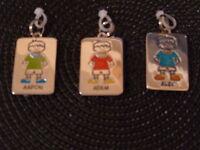 Kids Personalized ID Tag Charm Zipper Pull Key Chain Bag : Boys Names O to V
