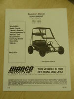 MANCO MODEL 485-25 485-26 485-241 GO KART PARTS LIST OPERATORS MANUAL CART