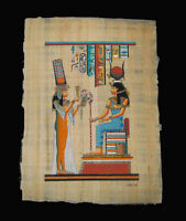 Egyptian Papyrus genuine hand painted Isis and Nefertari 43x33cm